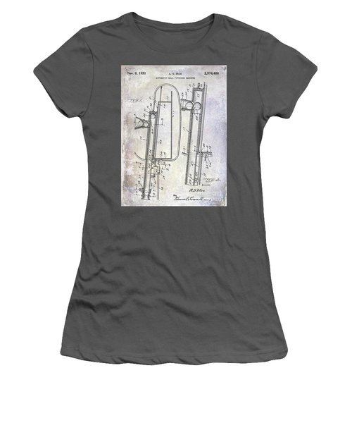1951 Baseball Pitching Machine Patent Women's T-Shirt (Athletic Fit)