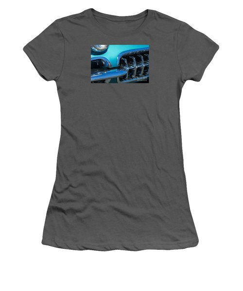 1960 Chevy Corvette Headlight And Grill Abstract Women's T-Shirt (Athletic Fit)