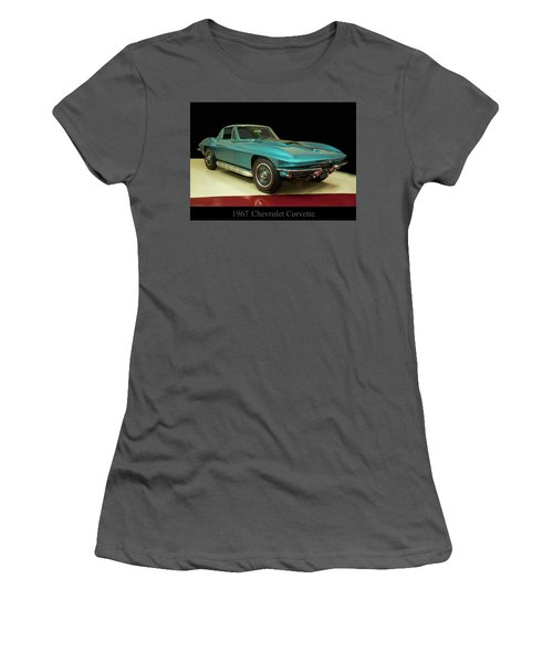 Women's T-Shirt (Junior Cut) featuring the digital art 1967 Chevrolet Corvette 2 by Chris Flees