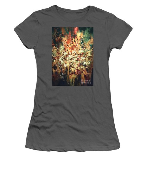Abstract Flowers Women's T-Shirt (Athletic Fit)