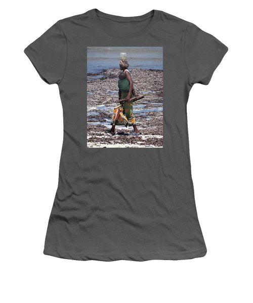 African Woman Collecting Shells 1 Women's T-Shirt (Athletic Fit)