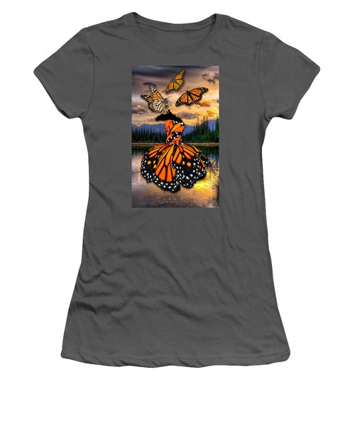 Women's T-Shirt (Athletic Fit) featuring the mixed media Believe by Marvin Blaine
