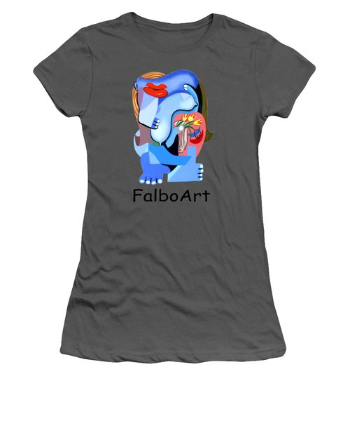 Blue Nude With Tulips Women's T-Shirt (Athletic Fit)
