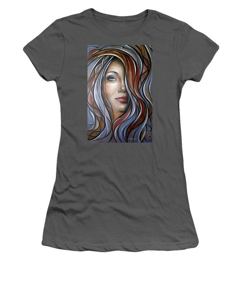 Women's T-Shirt (Junior Cut) featuring the painting Cool Blue Smile 070709 by Selena Boron