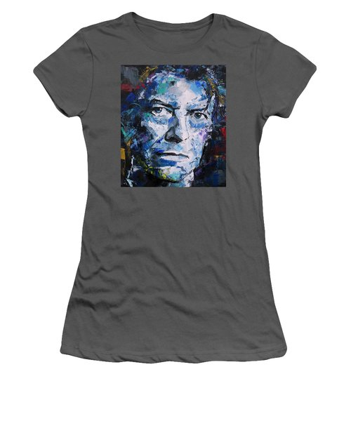 Women's T-Shirt (Junior Cut) featuring the painting David Bowie by Richard Day
