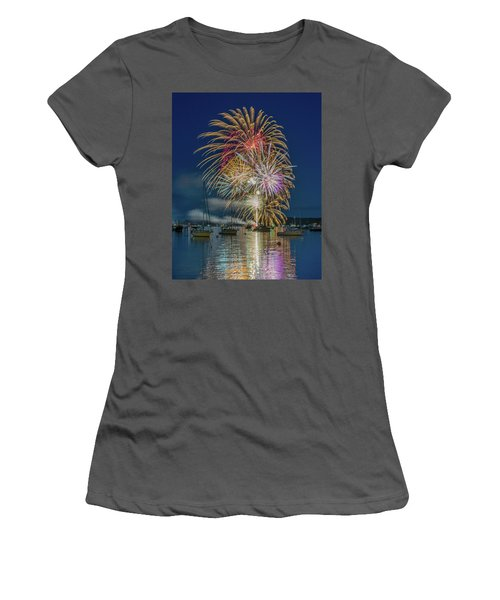 Independence Day Fireworks In Boothbay Harbor Women's T-Shirt (Athletic Fit)