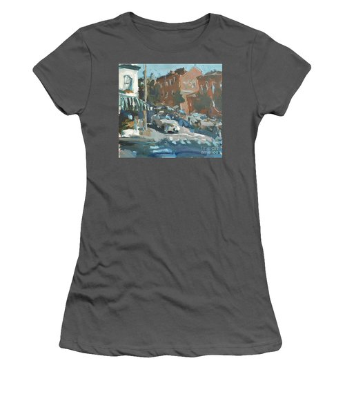 Women's T-Shirt (Junior Cut) featuring the painting Original Contemporary Urban Painting Featuring Richmond Virginia by Robert Joyner
