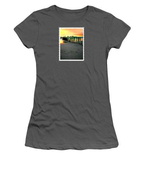 Sea Gulls On Pilings  At Sunset Women's T-Shirt (Junior Cut) by Elaine Plesser