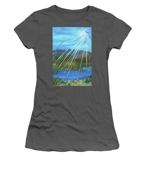 Women's T-Shirt (Junior Cut) featuring the mixed media Sunshine Over Boise by Angela Stout