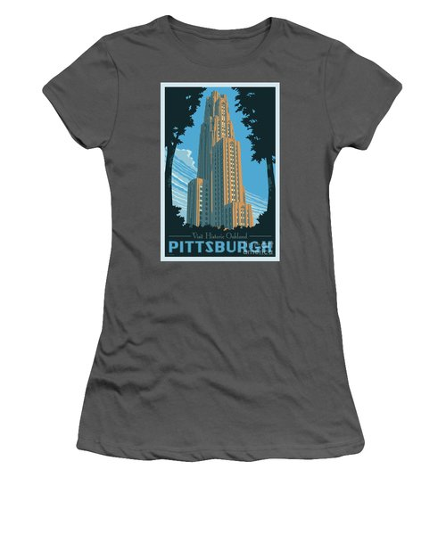 Vintage Style Pittsburgh Travel Poster Women's T-Shirt (Junior Cut) by Jim Zahniser