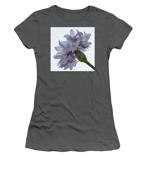 White With Blue Cornflower Women's T-Shirt (Athletic Fit)