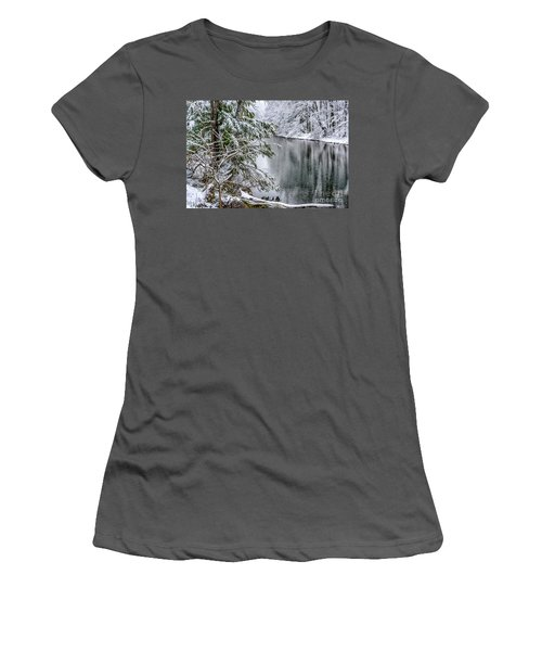 Women's T-Shirt (Junior Cut) featuring the photograph Winter Along Cranberry River by Thomas R Fletcher