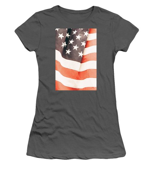 Women's T-Shirt (Junior Cut) featuring the photograph American Flag by Les Cunliffe