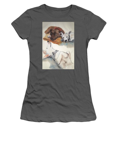 Dogs Dogs  Dogs Album Women's T-Shirt (Junior Cut) by Debbi Saccomanno Chan