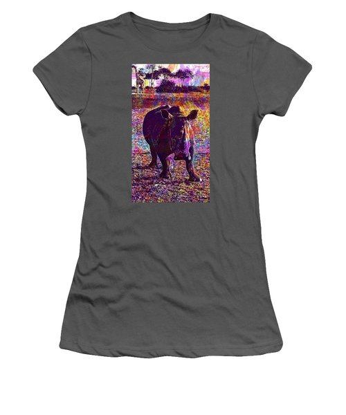 Women's T-Shirt (Athletic Fit) featuring the digital art Rhino Africa Namibia Nature Dry  by PixBreak Art