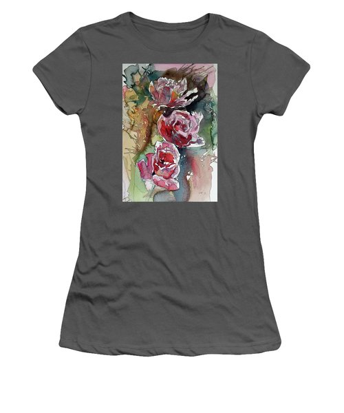 Women's T-Shirt (Junior Cut) featuring the painting Roses by Kovacs Anna Brigitta