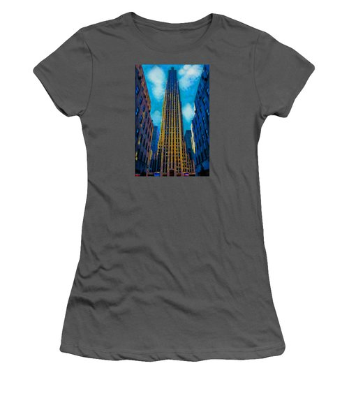 Women's T-Shirt (Junior Cut) featuring the painting 30 Rock by Kai Saarto