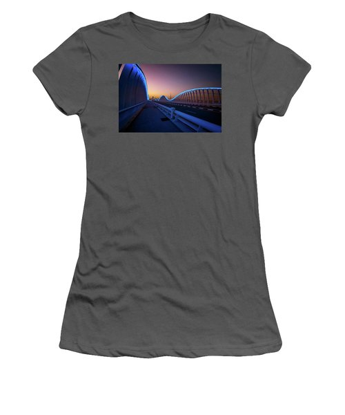Amazing Night Dubai Vip Bridge With Beautiful Sunset. Private Ro Women's T-Shirt (Athletic Fit)
