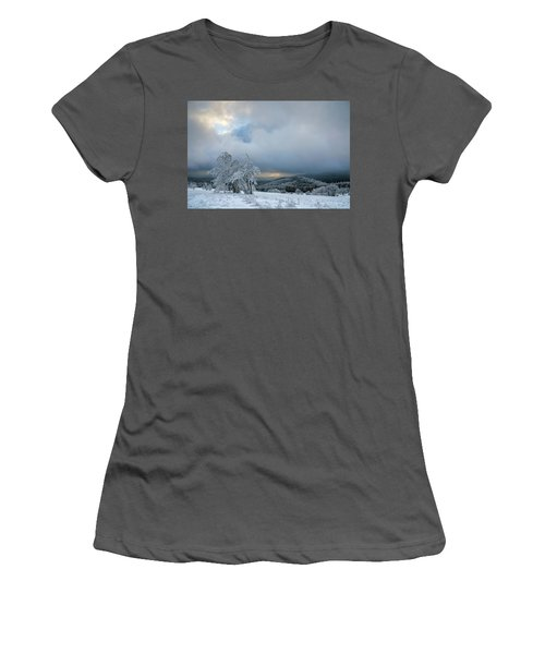 Typical Snowy Landscape In Ore Mountains, Czech Republic. Women's T-Shirt (Athletic Fit)