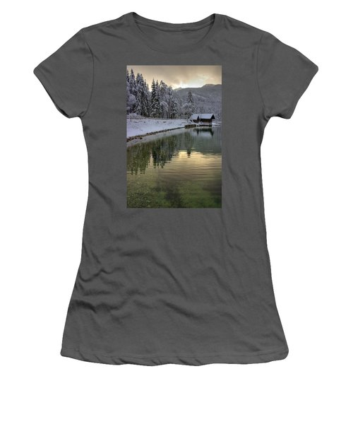 Women's T-Shirt (Junior Cut) featuring the photograph Alpine Winter Reflections by Ian Middleton