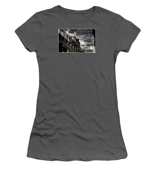 Women's T-Shirt (Junior Cut) featuring the photograph Pop Brixton - Spiral Staircase - Industrial Style by Lenny Carter