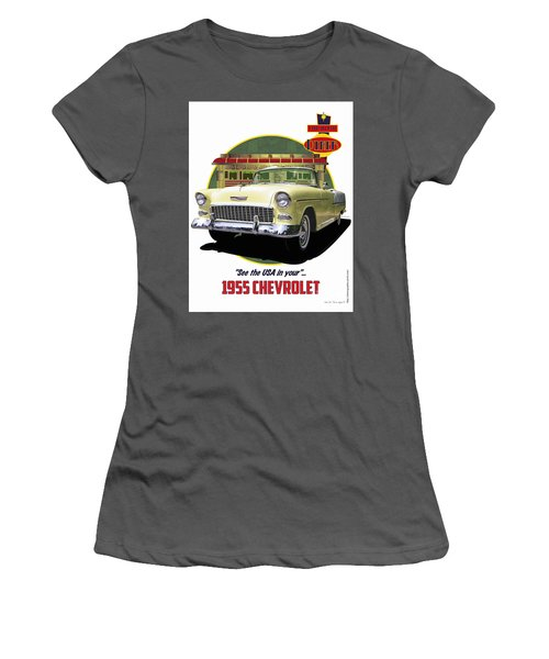 55 Chevy Women's T-Shirt (Junior Cut) by Kenneth De Tore