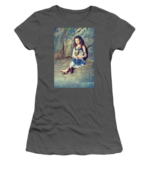 Young American Woman Missing You With White Rose In New York Women's T-Shirt (Athletic Fit)
