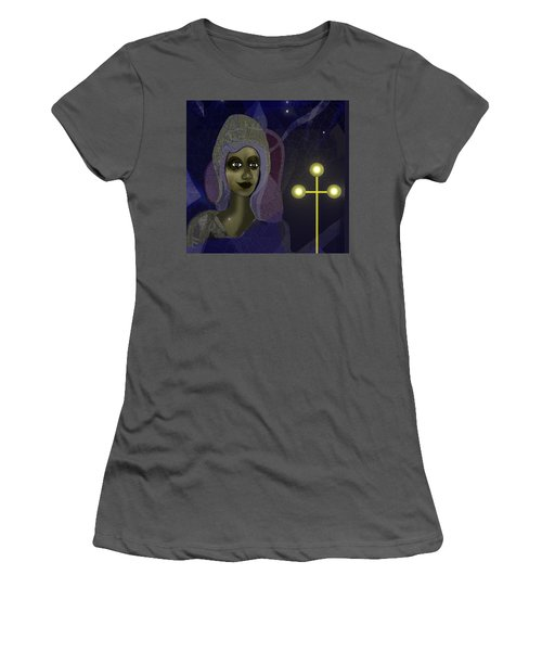 Women's T-Shirt (Junior Cut) featuring the digital art 673 - Young Lady With Cross by Irmgard Schoendorf Welch