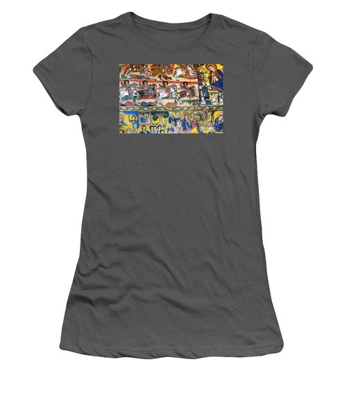 Ancient Orthodox Church Interior Painted Walls In Gondar Ethiopi Women's T-Shirt (Athletic Fit)