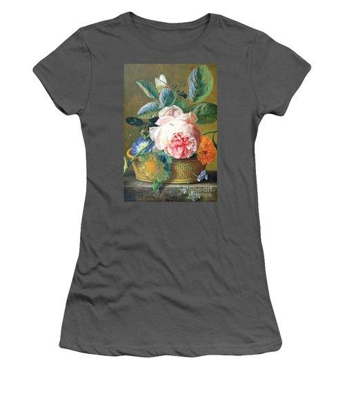 A Basket With Flowers Women's T-Shirt (Junior Cut) by Jan van Huysum