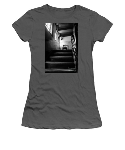 A Chair At The Top Of The Stairway Bw Women's T-Shirt (Junior Cut) by RicardMN Photography