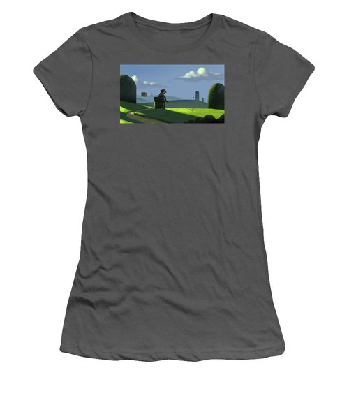 Women's T-Shirt (Junior Cut) featuring the painting A Contemplative Plumber by Michael Myers