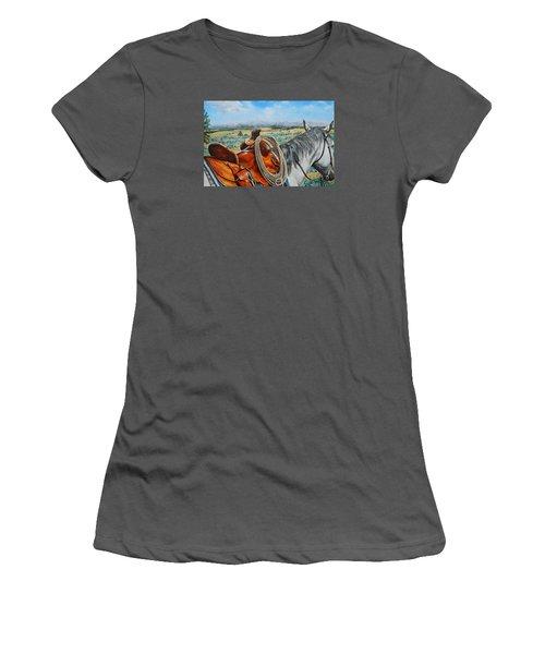 A Cowboy's View Women's T-Shirt (Junior Cut) by Ruanna Sion Shadd a'Dann'l Yoder