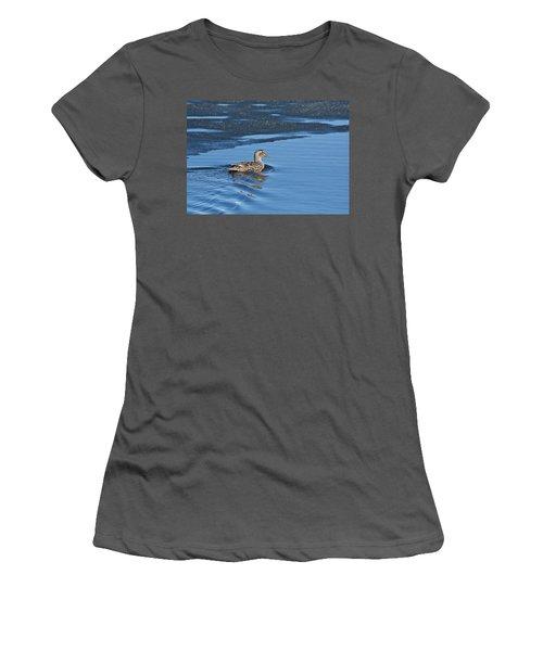 Women's T-Shirt (Junior Cut) featuring the photograph A Female Mallard In Thunder Bay by Michael Peychich