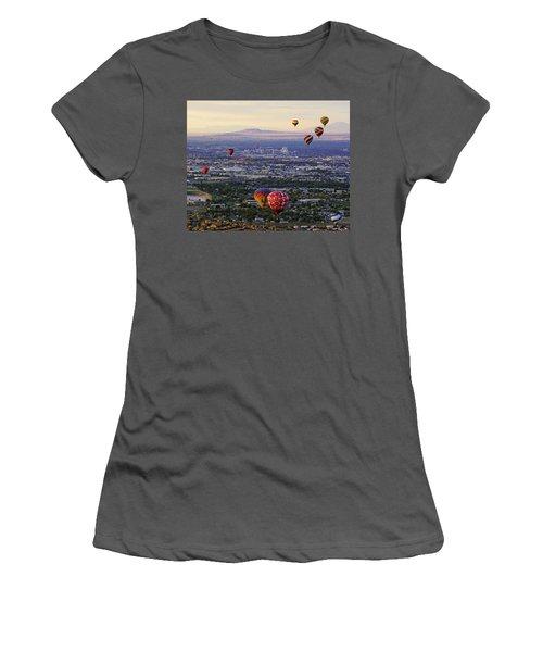A Hot Air Ride To Albuquerque Cropped Women's T-Shirt (Junior Cut) by Daniel Woodrum