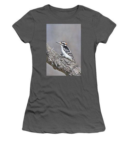 Women's T-Shirt (Junior Cut) featuring the photograph A Male Downey Woodpecker 1120 by Michael Peychich