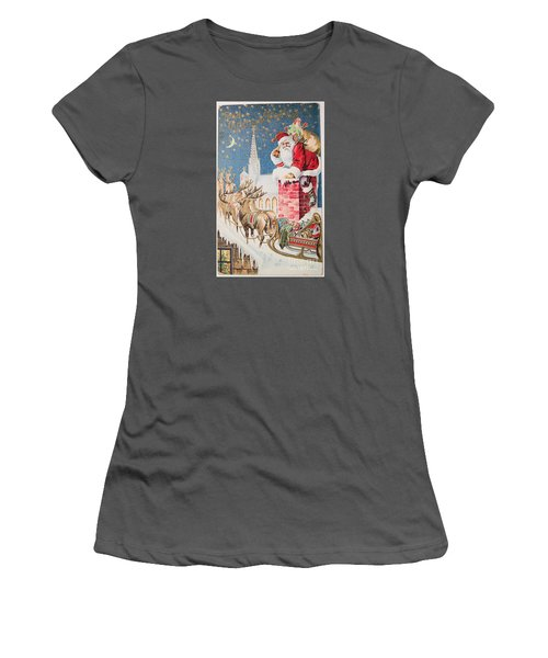 A Merry Christmas Vintage Greetings From Santa Claus And His Raindeer Women's T-Shirt (Athletic Fit)