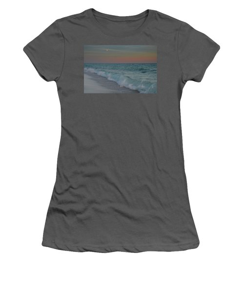 Women's T-Shirt (Junior Cut) featuring the photograph A Moonlit Evening On The Beach by Renee Hardison