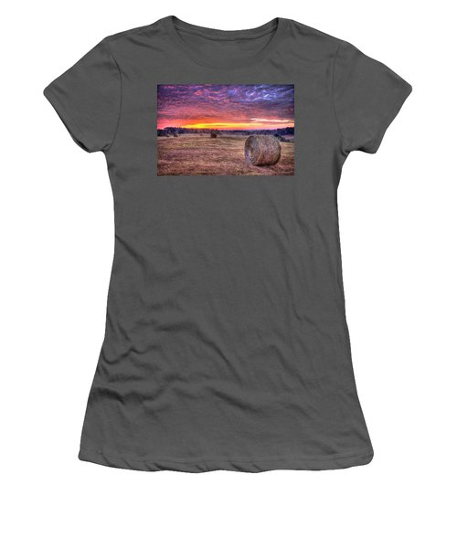 Women's T-Shirt (Junior Cut) featuring the photograph Before A New Day Georgia Hayfield Sunrise Art by Reid Callaway
