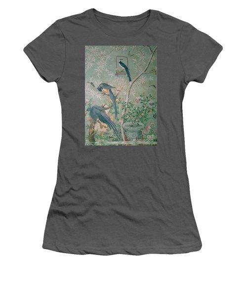 A Pair Of Magpie Jays  Vintage Wallpaper Women's T-Shirt (Junior Cut) by John James Audubon