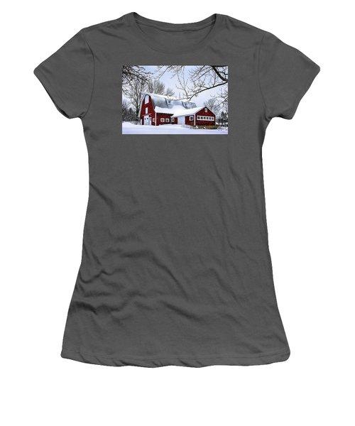 A Snowy Day At Grey Ledge Farm Women's T-Shirt (Junior Cut) by Betty Denise