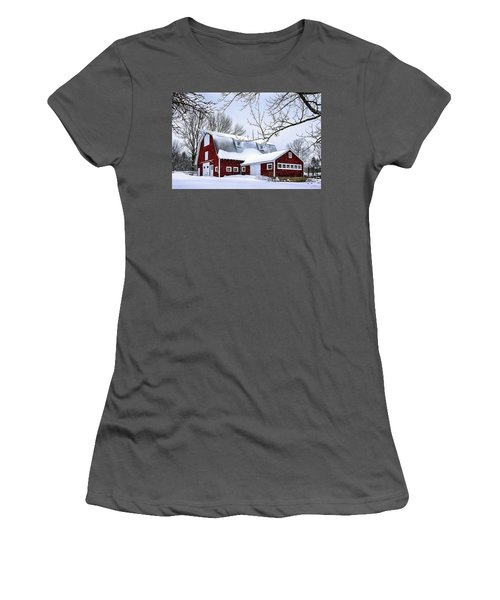 A Snowy Day At Grey Ledge Farm Women's T-Shirt (Athletic Fit)