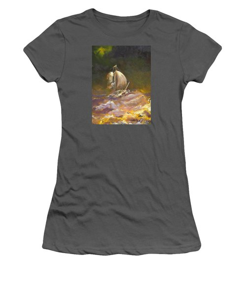 Women's T-Shirt (Junior Cut) featuring the painting A Stormy Night At Sea by Dan Whittemore