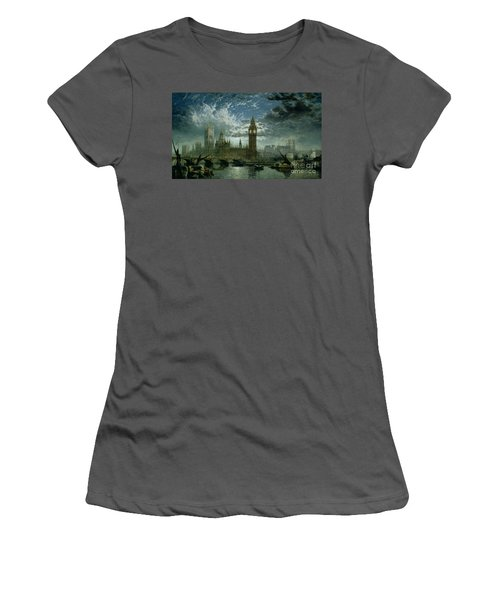 A View Of Westminster Abbey And The Houses Of Parliament Women's T-Shirt (Junior Cut) by John MacVicar Anderson