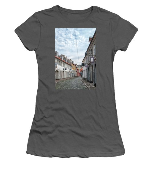 Women's T-Shirt (Junior Cut) featuring the photograph Aarhus Backstreet Scene by Antony McAulay