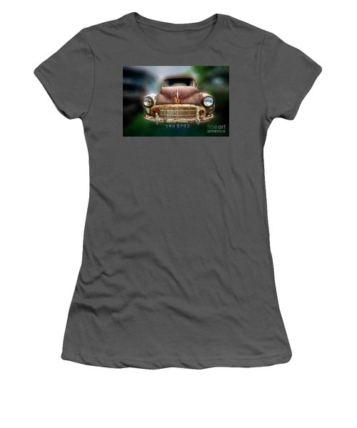 Women's T-Shirt (Junior Cut) featuring the photograph Abandoned Car by Charuhas Images