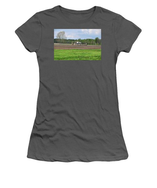 Women's T-Shirt (Junior Cut) featuring the photograph Abandoned Farmhouse by John Black