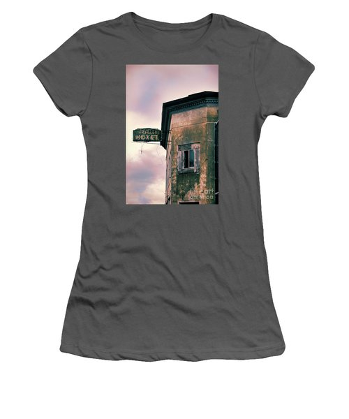 Women's T-Shirt (Junior Cut) featuring the photograph Abandoned Hotel by Jill Battaglia