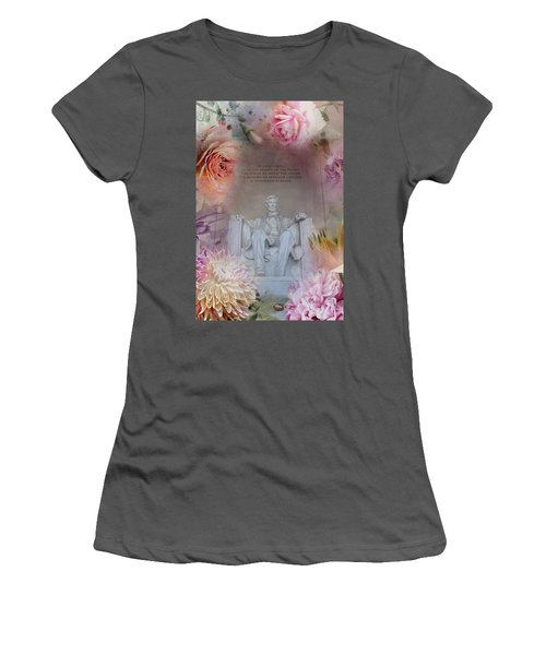 Abraham Lincoln Memorial At Spring Women's T-Shirt (Junior Cut) by Marianna Mills