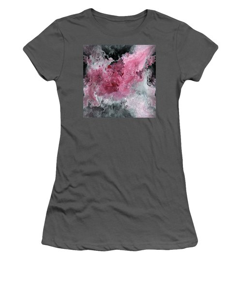 Abstract Acrylic Painting Red Black And White Women's T-Shirt (Athletic Fit)